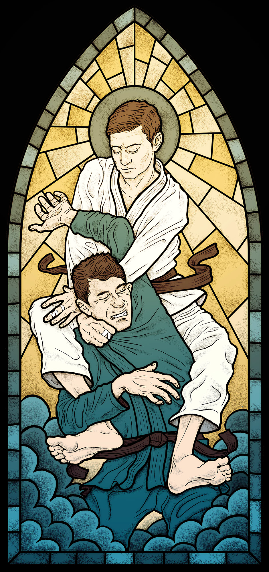 BJJ poster stained glass window of men grappling