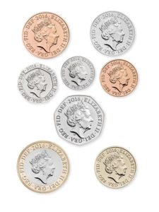 Selection of UK coins with Jody Clark's design of HRH Queen Elizabeth II