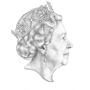 Refined sketch drawing of HRH Queen Elizabeth II headshot