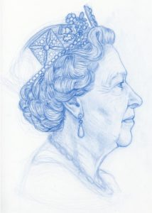 Early drawing of HRH Queen Elizabeth II headshot