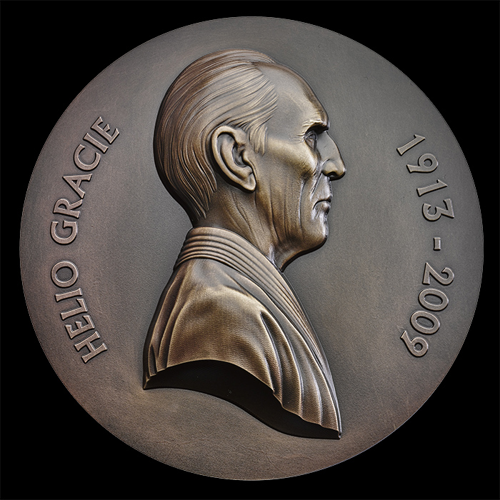 Jiu Jitsu art - Helio Gracie headshot on bronze medal