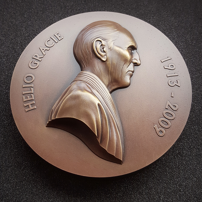 Jiu Jitsu art - Helio gracie headshot on Bronze medal aerial view